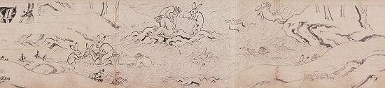 国宝「鳥獣戯画 甲巻」(平安時代、12世紀、高山寺蔵)=前期 公開
