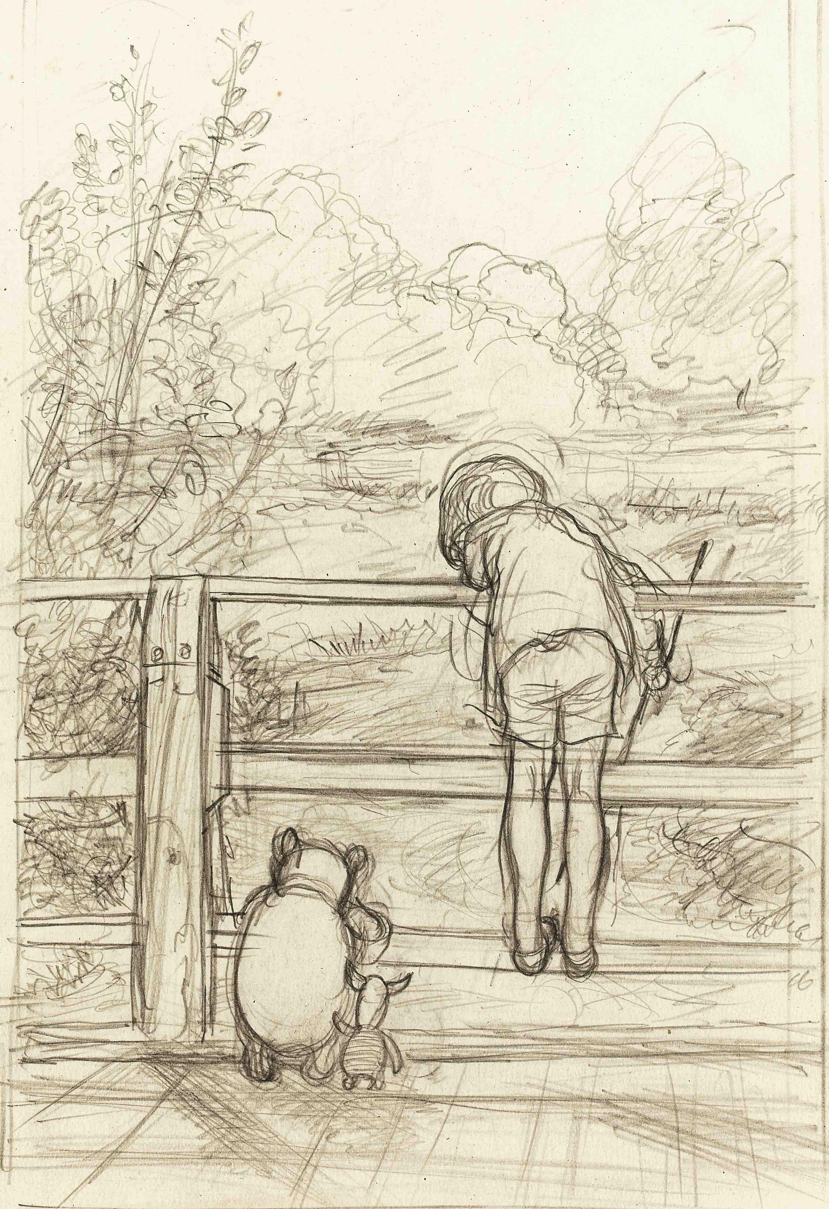 「ながいあいだ、三人はだまって、下を流れてゆく川をながめていました」、『プー横丁にたった家』第6章、E.H.シェパード、鉛筆画、1928年、 ジェームス・デュボース・コレクション © The Shepard Trust
